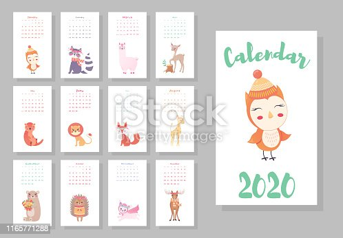 Calendar 2020. Cute monthly calendar with cute animals. Hand drawn style characters owl, raccoon, lama, deer, beaver, lion, fox, moose, bunny, bear, hedgehog, giraffe