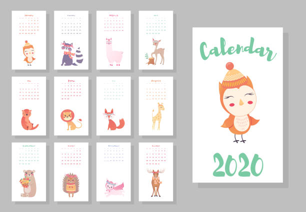 calendar 2020. cute monthly calendar with cute animals. hand drawn style characters owl, raccoon, lama, deer, beaver, lion, fox, moose, bunny, bear, hedgehog, giraffe - birds calendar stock illustrations, clip art, cartoons, & icons