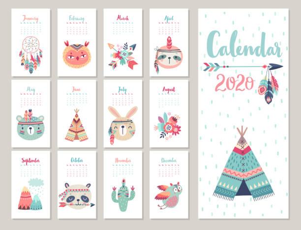 ilustraciones, imágenes clip art, dibujos animados e iconos de stock de calendario 2020. lindo calendario mensual con animales boho bosque. - calendario de flores