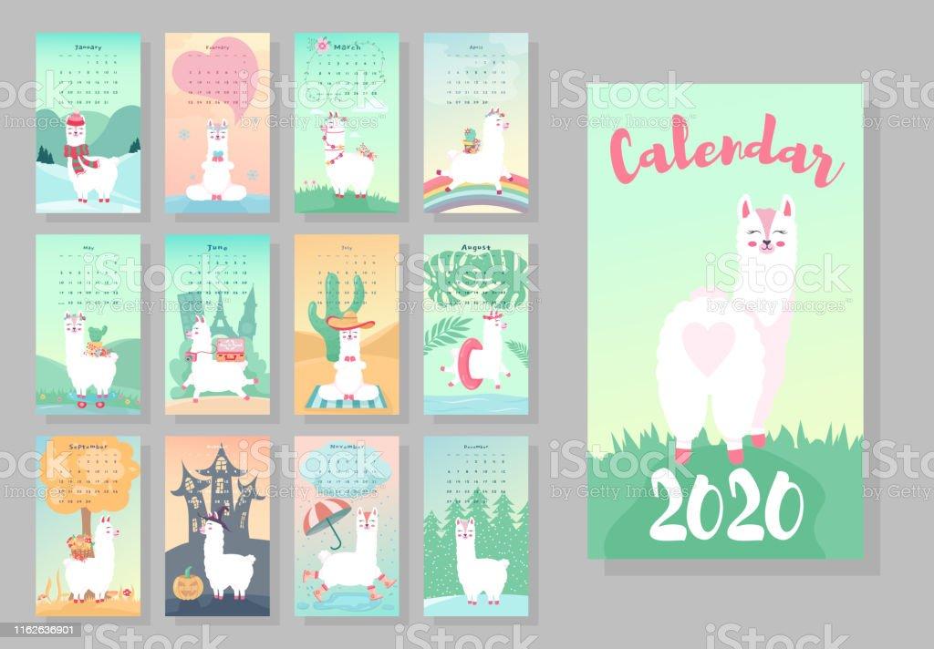 Calendrier 2020 Animaux.Calendrier 2020 Calendrier Mensuel Mignon Avec Des Animaux