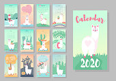 Calendar 2020. Cute monthly calendar with llama alpaca animals. Hand drawn style characters