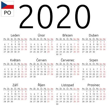 Calendario 2020 Editable Illustrator.Calendar 2020 Czech Monday Stock Illustration Download Image Now
