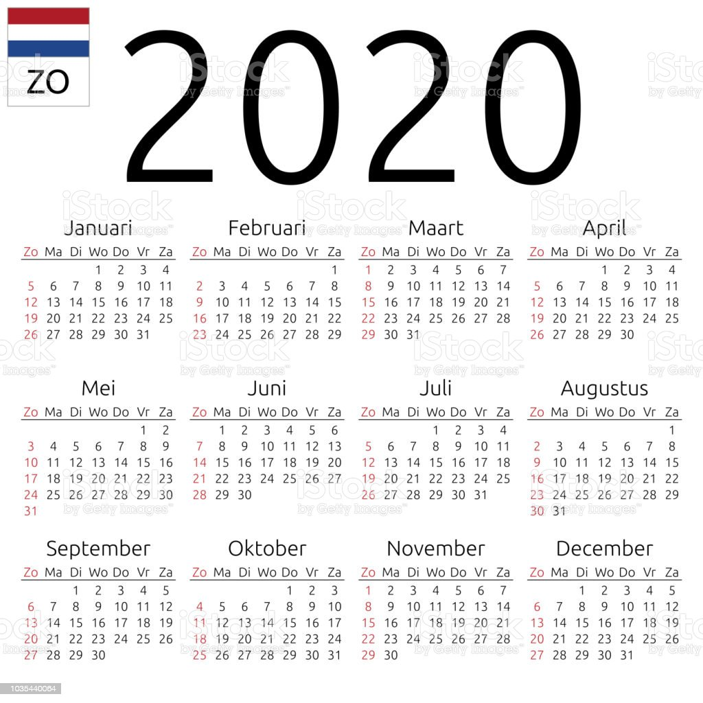 Calendrier 2020 Top 14.Calendar 2020 Dutch Sunday Stock Illustration Download