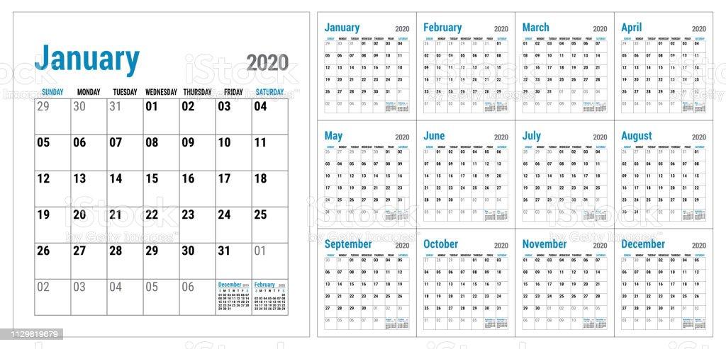 kalender 2020 englisch kalender vorlage vektorraster b ro. Black Bedroom Furniture Sets. Home Design Ideas