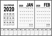 Calendar 2020. English calender template. Vector planner grid. Office business planning. Creative design