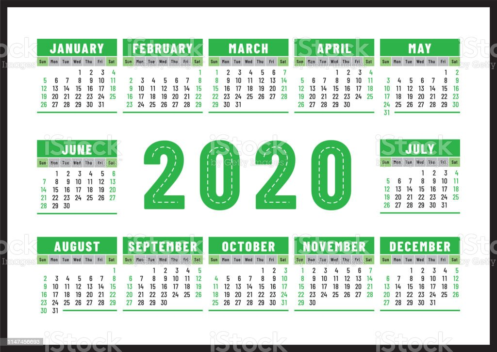 Calendario Diario 2020.Ilustracion De Calendario 2020 Diseno De Vector De Color