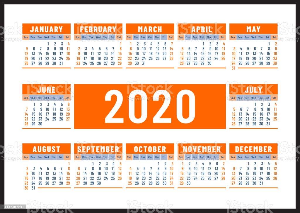 Modele De Calendrier 2020.Calendrier 2020 Conception De Vecteur De Couleur Orange