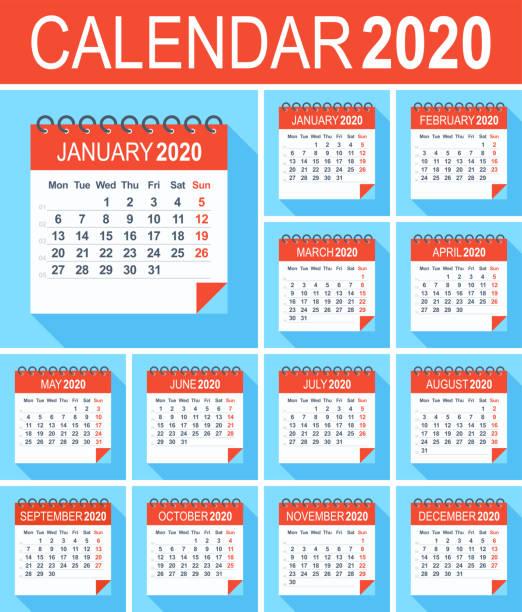 stockillustraties, clipart, cartoons en iconen met kalender 2020-plat modern blauw rood. week begint vanaf maandag - december