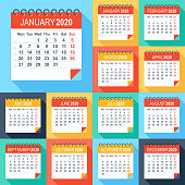 Calendar 2020 - Flat Modern Colorful. Week starts from Monday