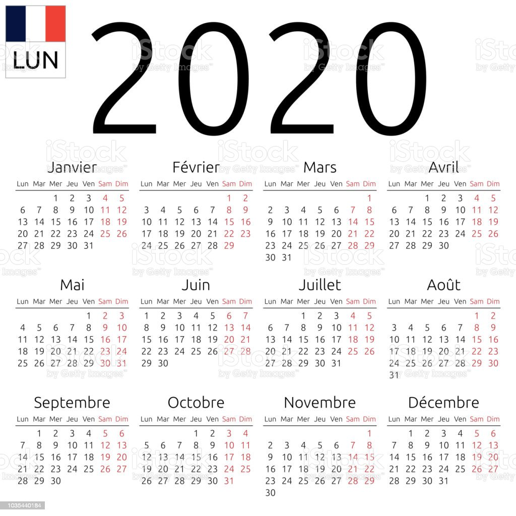 Can Calendrier 2020.Calendar 2020 French Monday Stock Illustration Download