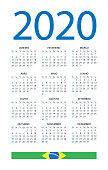 Calendar 2020 - illustration. Brazilian version