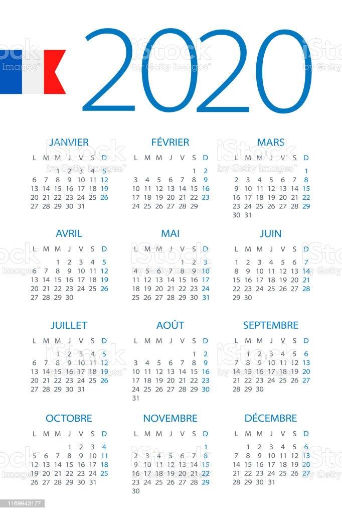 Calendrier 2020 Illustration Version Français Vecteurs ...