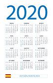 Calendar 2020 - illustration. Spanish American version
