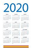 Calendar 2020 - illustration. Spanish version
