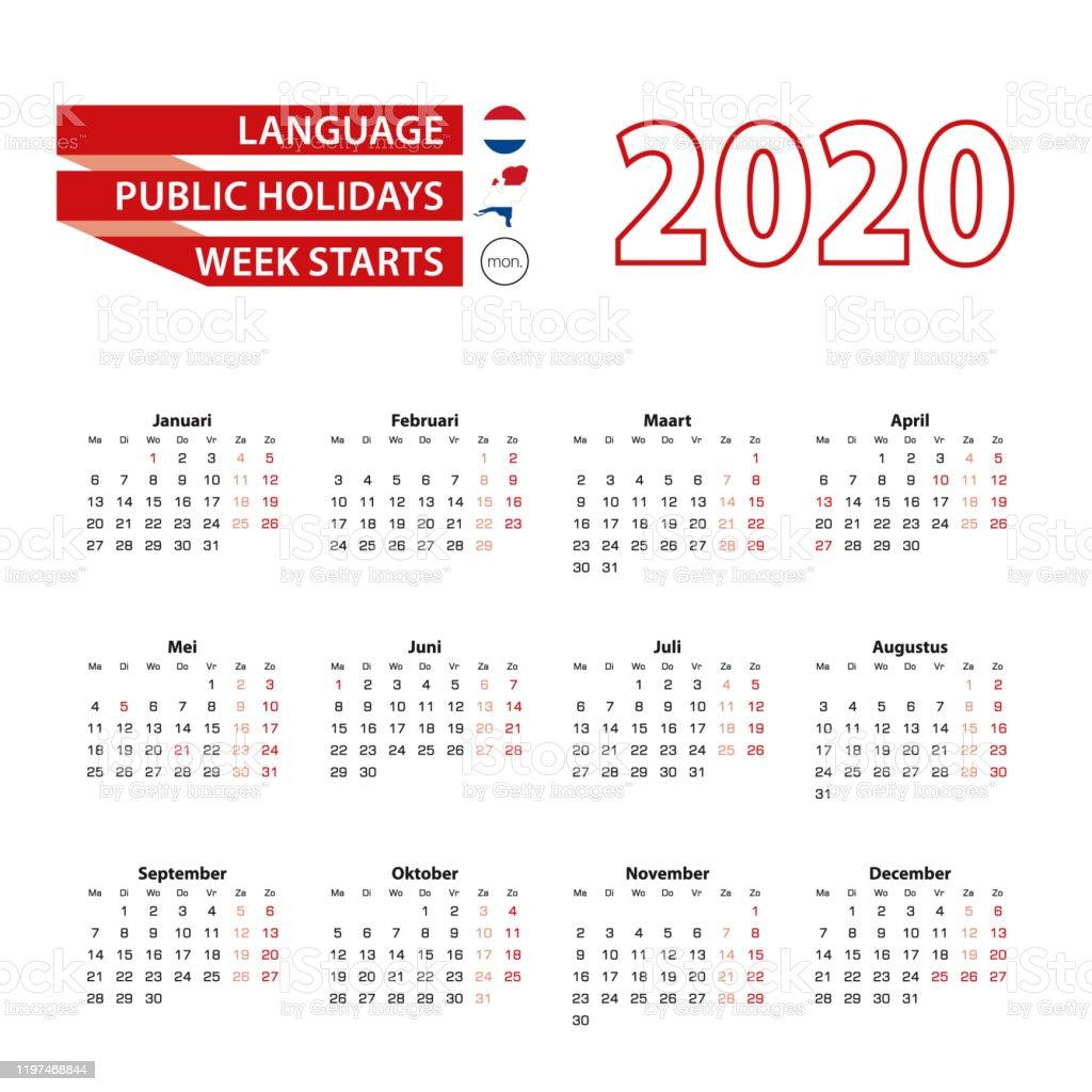 Kalender 2020 I Nederländska Språket Med Helgdagar ...