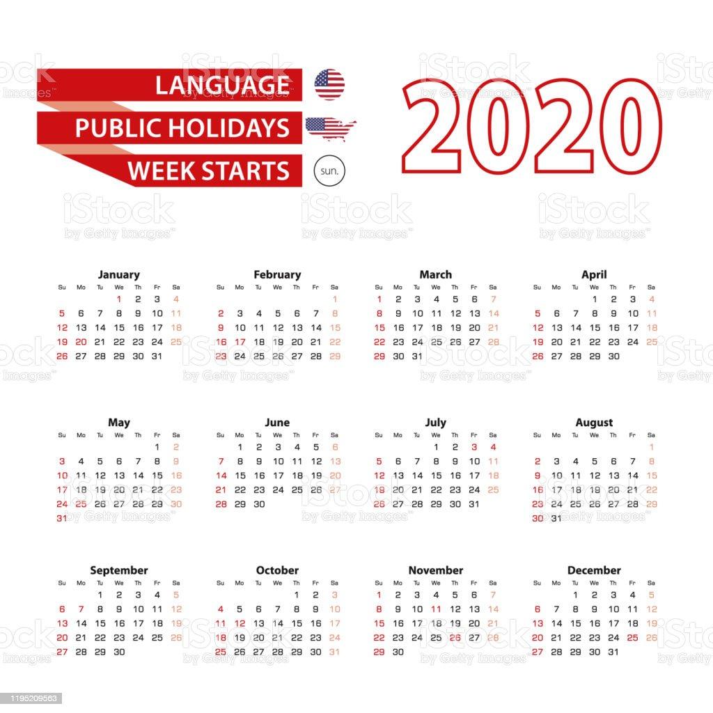 Calendrier 2020 En Anglais Avec Les Jours Fériés Des