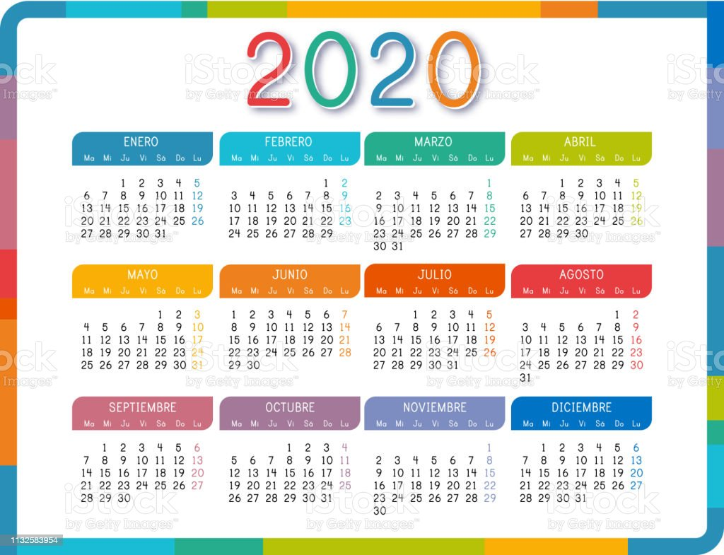 Calendario 2020 2020.Calendar 2020 In Spanish Language On White Background