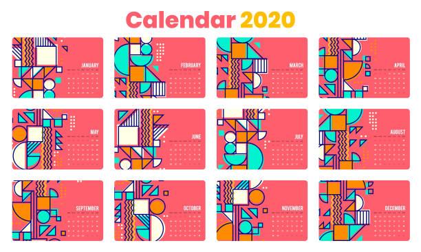 Calendar 2020 including US holidays vector art illustration