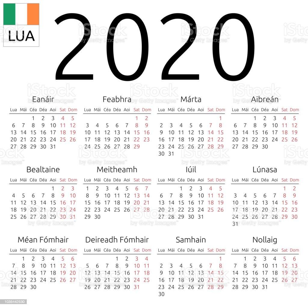 Calendar 2020 Ireland Calendar 2020 Irish Monday Stock Illustration   Download Image Now