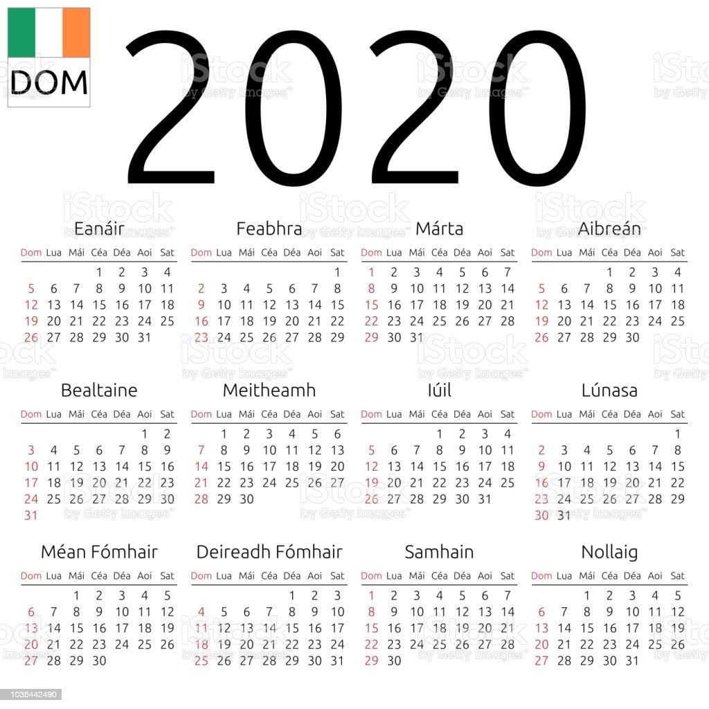 Ireland Calendar 2020 Calendar 2020 Irish Sunday Stock Illustration   Download Image Now