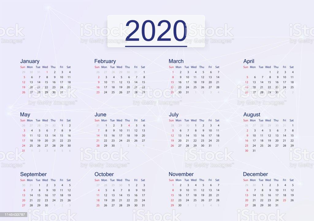 Calendario Rosa 2020.Vetores De 2020 Do Calendario Isolado No Fundo Corderosa