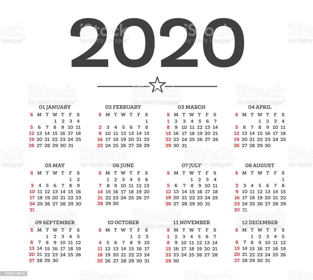 Calendario 2020 Semanas.Vetores De Calendario 2020 Isolado No Fundo Branco Semana