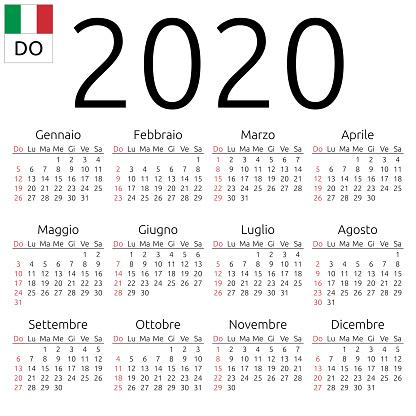 kalender 2020 italienisch sonntag stock vektor art und. Black Bedroom Furniture Sets. Home Design Ideas