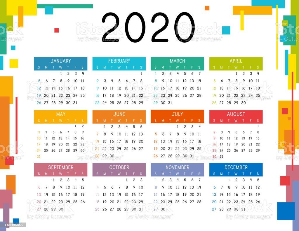 Modele De Calendrier 2020.Calendrier 2020 Sur Fond Blanc Calendrier Colore 2020 Annee