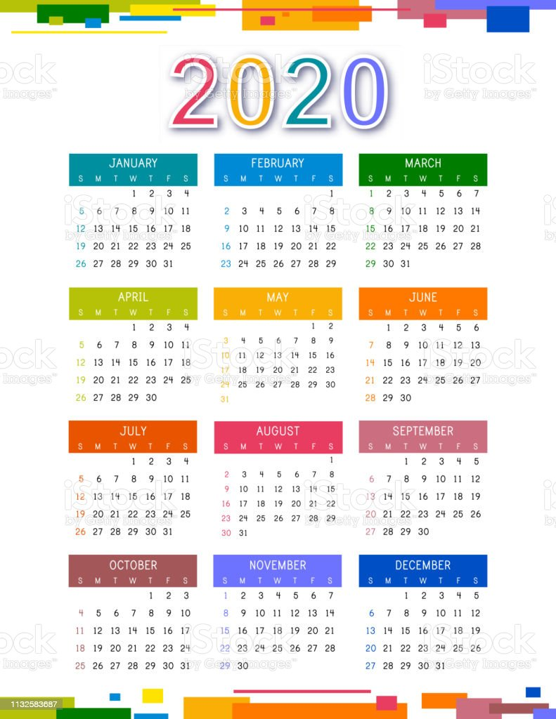 Calendrier 2020 Can.Calendar 2020 On White Background Colorful Calendar 2020