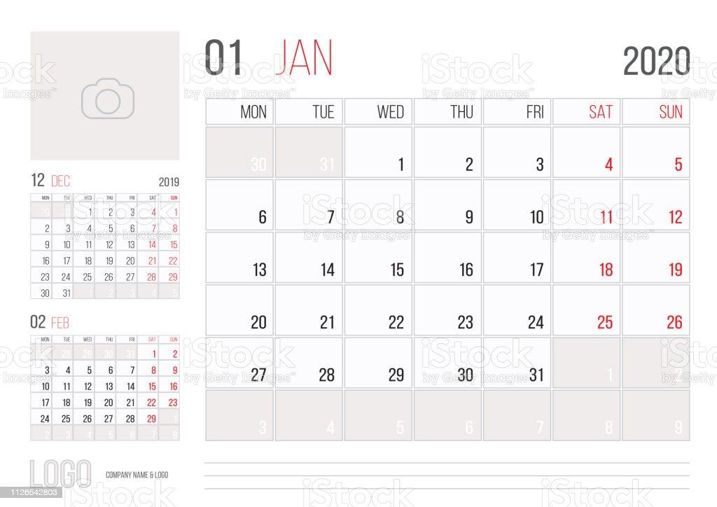 Calendario Mes De Enero 2020.Ilustracion De Diseno De Plantilla Corporativa Planner De