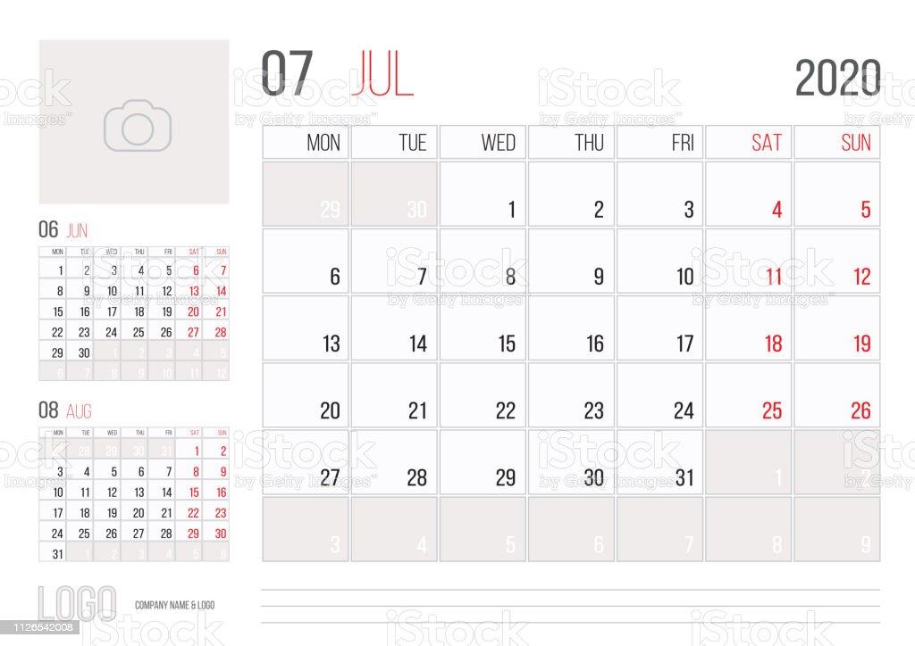 July Calendar For 2020.Calendar 2020 Planner Corporate Template Design July Month Stock