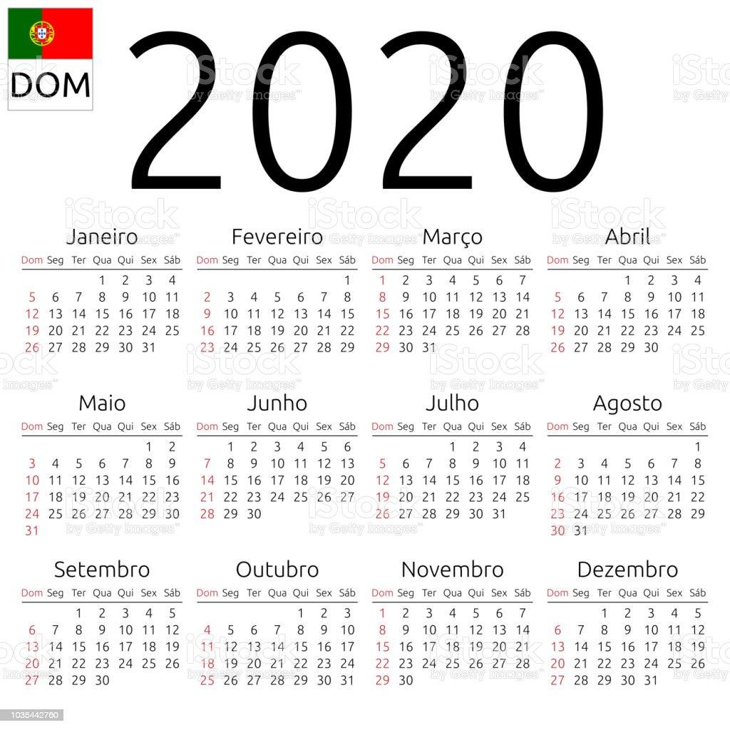 Kalender 2020, Portugiesisch, Sonntag – Vektorgrafik