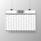Calendar poster 2020 in horizontal position, isolated on an gray background - International version. Need another version, another year... Check my portfolio. Vector Illustration (EPS10, well layered and grouped). Easy to edit, manipulate, resize or colorize.