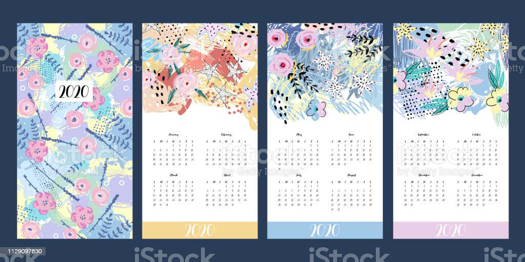 Calendario 2020 Con Foto.Ilustracion De Calendario 2020 Imprimir Plantilla Creativa