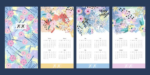 ilustraciones, imágenes clip art, dibujos animados e iconos de stock de calendario 2020. imprimir plantilla creativa con flores. arte abstracto moderno con diseño floral - calendario de flores