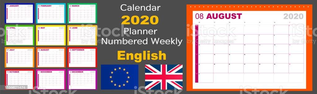 Calendrier 2020 Semaine Numerotees.Le Planificateur Du Calendrier 2020 Est Numerote Chaque
