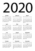 Calendar 2020 Simple. Days start from Monday