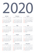 Calendar 2020 Simple. Days start from Sunday