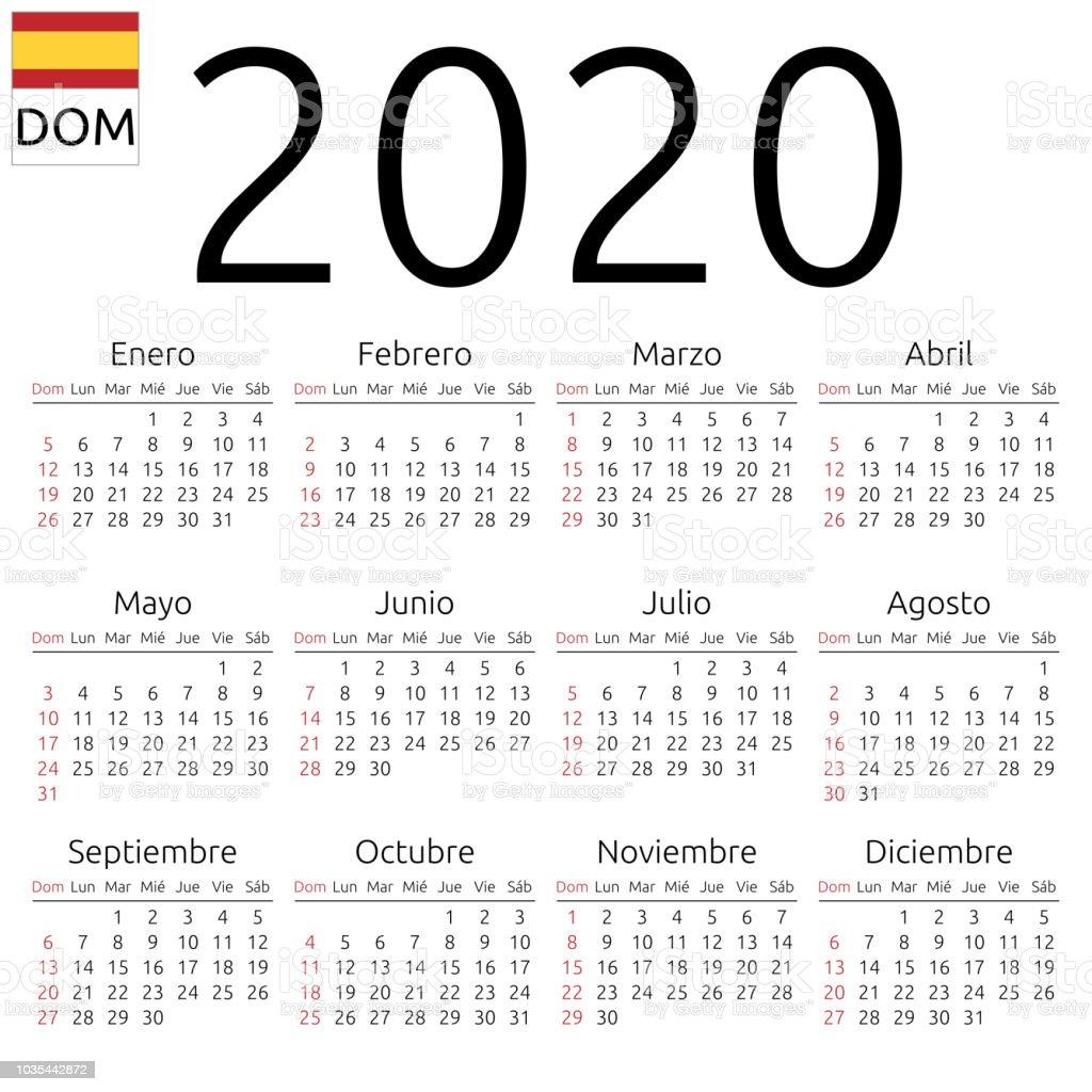 Kalender 2020, Spanisch, Sonntag – Vektorgrafik