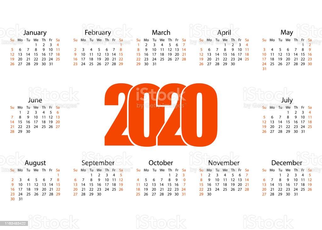 Vector De Calendario 2020.Calendario 2020 Blanco