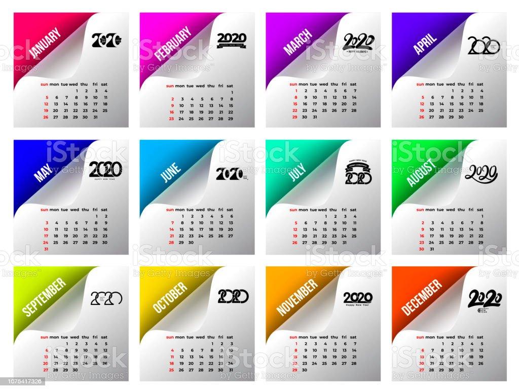 Calendario 2020 Portugues Com Feriados.Vetores De Modelo De Calendario 2020 Calendario Design Nas