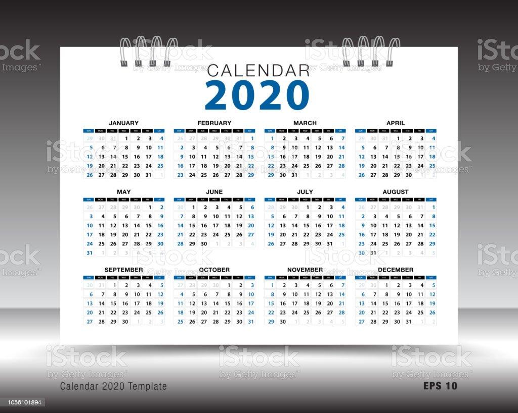 Layout Calendario 2020.Calendar 2020 Template Layout Blue Background Business