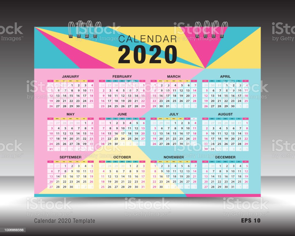 Calendario Diario 2020.Ilustracion De Diseno De Plantilla De Calendario 2020 Flyer