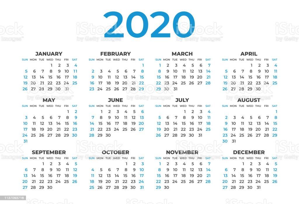 Layout Calendario 2020.Calendar 2020 Template Layout Blue Concept Business Brochure