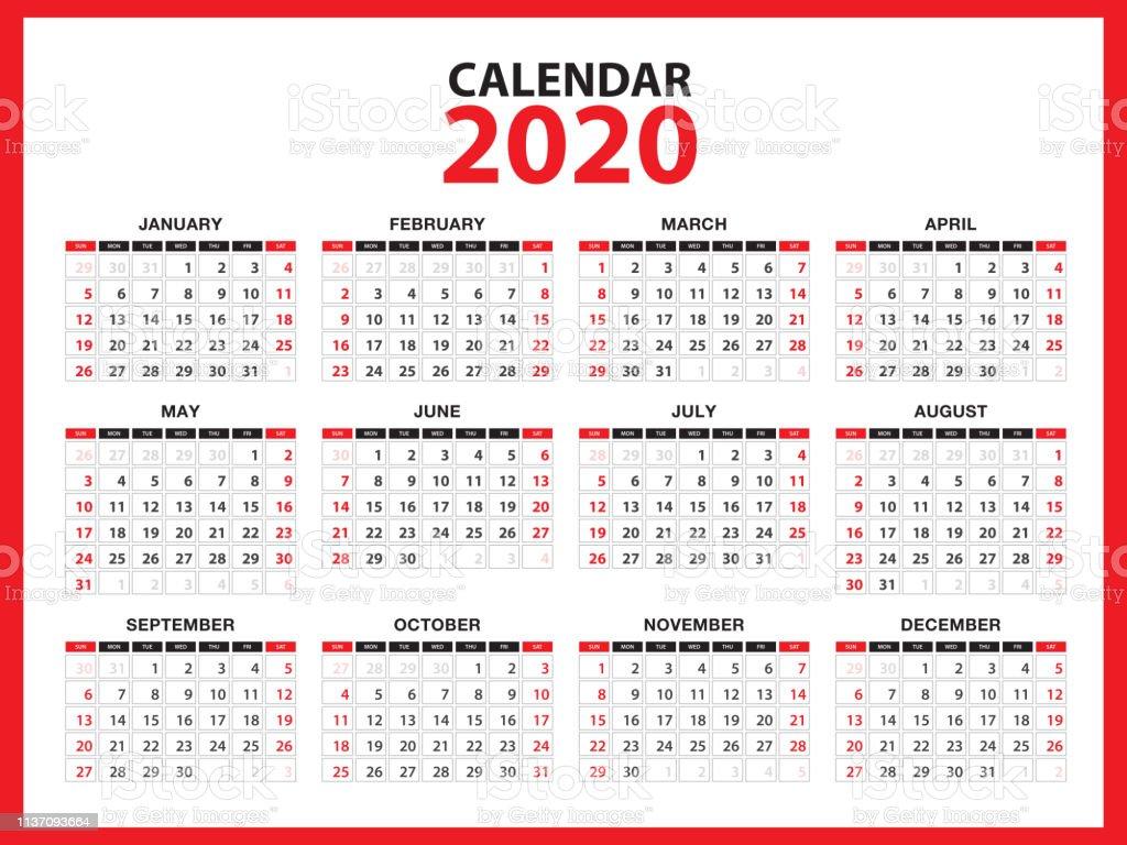 kalender 2020 template layout red concept business. Black Bedroom Furniture Sets. Home Design Ideas