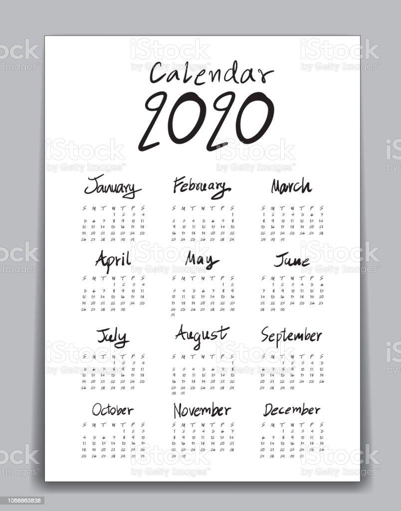 Poster Calendario 2020.Calendar 2020 Template Lettering Calendar Hand Drawn