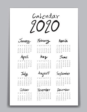 Kalender 2020 Vorlage Schriftzug Kalender Hand Gezeichnete