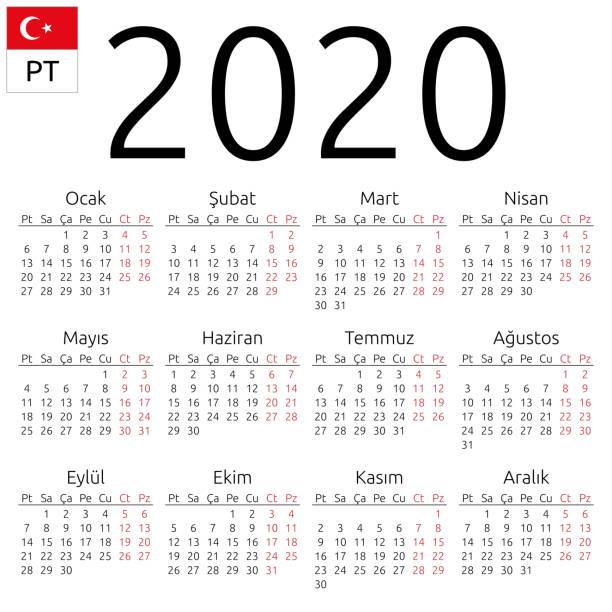 Kalender 2020, Türkisch, Montag – Vektorgrafik