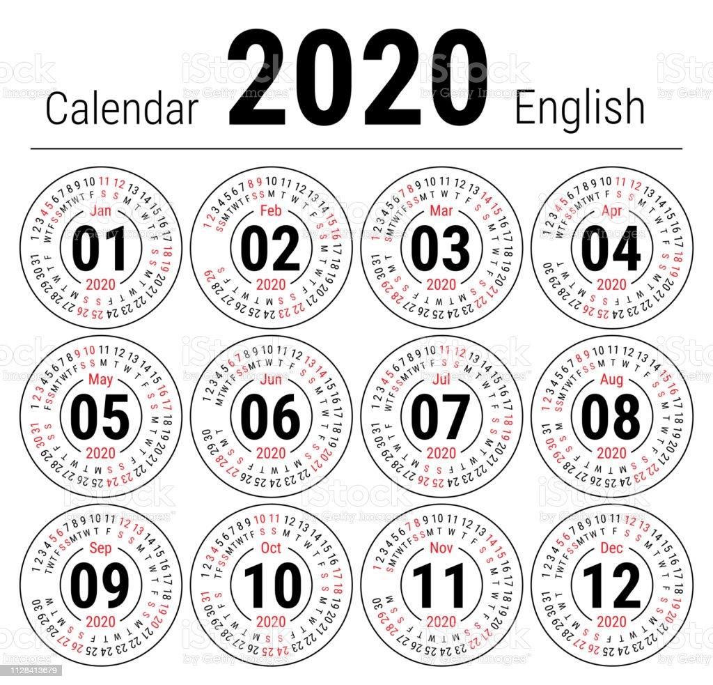 Calendario Junio Julio 2020.Ilustracion De Calendario 2020 Calendario Ronda Ingles Vector Enero