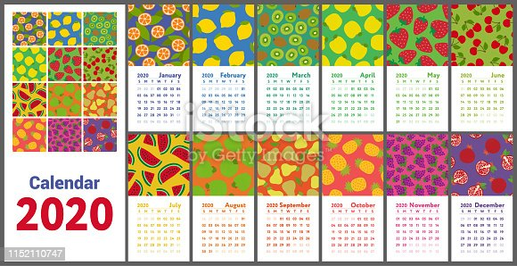 Calendar 2020. Vector English wall calender. Lemon, kiwi, pear, garnet, orange, pineapple, cherry, strawberry, watermelon, grapes, merry, apple, pomegranate and mandarin. Hand drawn. Fruits, berries. Doodle sketch